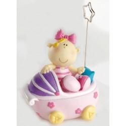 Pinza portafotos bebe niña lazo carrito