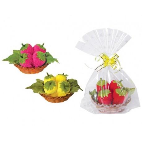 Dulce Fresas en cestita y bolsita de regalo