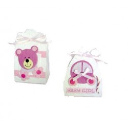Set de 16 cajitas baby rosa