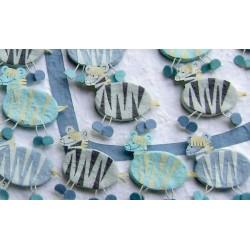 Set 15 cajitas azules cebras